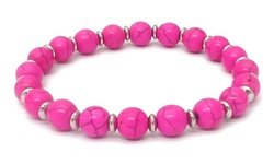 Turquoise Stretch Round Shape Bracelet - Pink