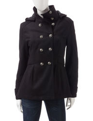 Just One Women's Color Solid Double Breasted Peacoat - Black - Size: Large