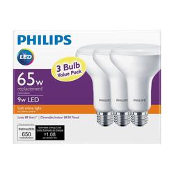 Philips 65W Equivalent White BR30 Dimmable Flood LED Light Bulb - 3 Pack