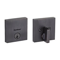 Kwikset Downtown Low Profile Square Contemporary Deadbolt Featuring Smartkey In Venetian Bronze (Clear Pack)