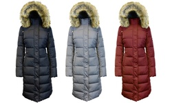 Womens Long Bubble Parka Jacket W/detachable Hood: Burgundy/xl