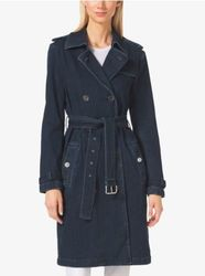 Michael Kors Denim Trench Coat - Blue - Size: Medium