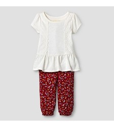 Oshkosh Baby Girl's Top and Floral Print Jogger Set - Red/Cream 12 Month