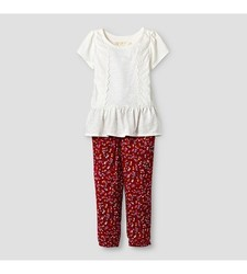 Oshkosh Baby Girl's Top and Floral Print Jogger Set - Red/Cream Size: 2T
