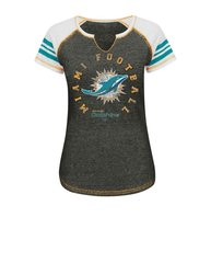NFL Miami Dolphins Women's V Short Sleeve Tee - Multi - Size: X-Large