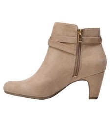 Sam & Libby Women's Mable Buckle Ankle Booties - Tan - Size: 8