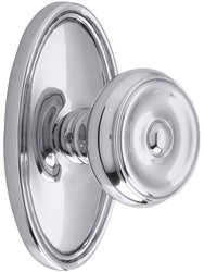 Emtek Oval Rosette Set with Waverly Knobs - Privacy Polished Chrome
