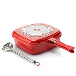 Cook's Companion Cast Aluminum 5 QT Universal Flip Pan - Red