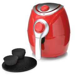 Cook's Companion 2.2 QT High Speed Air Fryer with Baking Cups - Red
