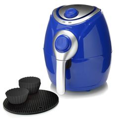 Cook's Companion 2.2 QT High Speed Air Fryer with Baking Cups - Blue