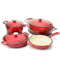 Cook's Companion Enameled Cast Iron 8 Piece Cookware Set - Red