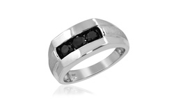 Jewelonfire 1.00 CTW Black Diamond Slant Men's Ring in SS - Size: 10