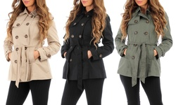 Womens' 5-button Trench Coat: Military Olive/medium