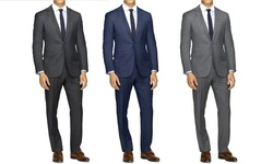 Slim-Fit Sharskin Suit: Indigo/38RX32W