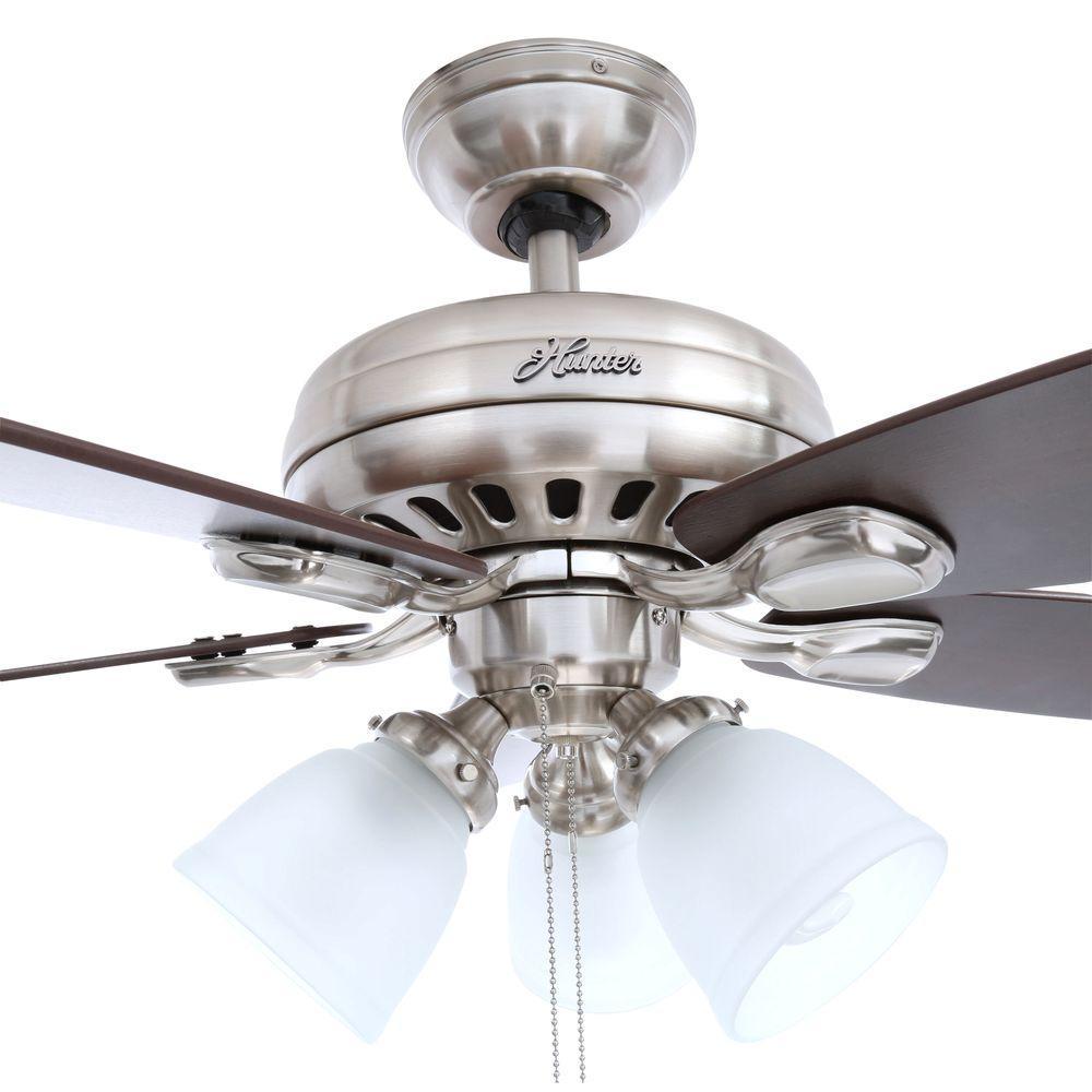 "Hunter Fan Brickfield 52 Indoor Brushed Nickel Ceiling: Hunter Highbury 52005 52"" Indoor Brushed Nickel Ceiling"