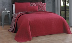 Geneva Home 5-Piece Reversible Quilt Set - Red/Ansley - Size: Queen