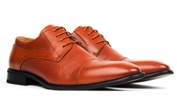 Signature Men's Cap Toe Lace-up Dress Shoes - Cognac - Size: 9.5