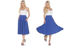 White Mark Women's Midi Flared Skirt - Royal Blue - Size: Medium