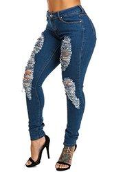 Women's Plus Size High Rise Ripped Skinny Jeans: Bq246-light Blue/20