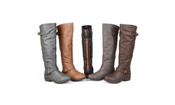 Journee Collection Women's Studded Riding Boots - Dark Grey - Size: 10