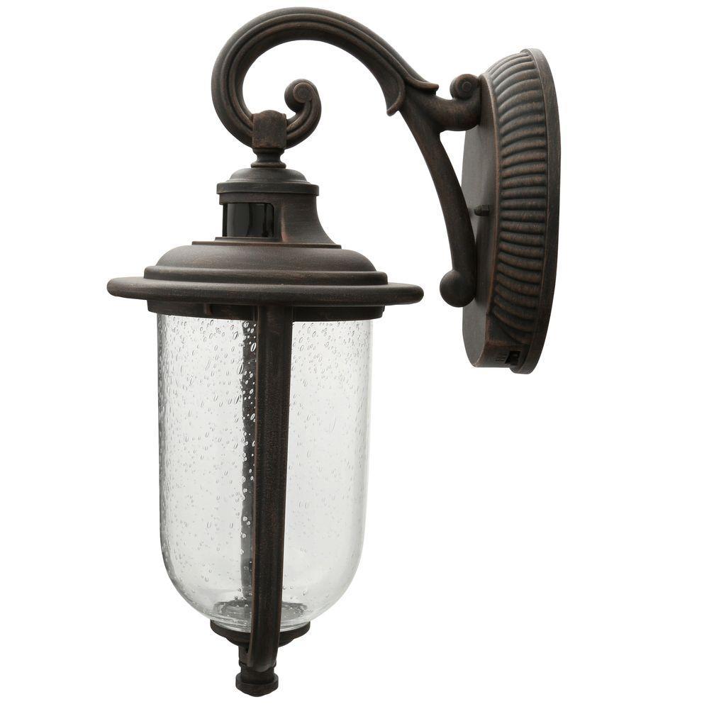 Hampton bay perdido rust outdoor led motion sensor wall mount lantern