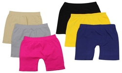 Girl's 6-Pack Colorful Above Knee Seamless Shorts - Assorted - Size: S/M