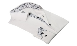 Rosso Milano Men's Jacquard Dress Shirts - White - Size: 5XL