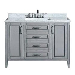 Madison 48 in. Vanity in Gray with Marble Vanity Top - Carrara White
