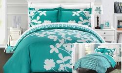 Chic Home 3-Piece Amaryllis Duvet Set - Turquoise - Size: King