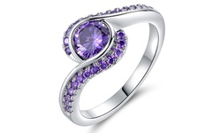 18k White Gold Purple Cubic Zirconia Bypass Ring - Size 8