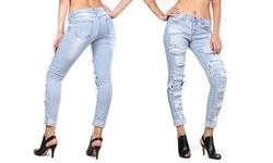 V I P Jean Women's Skinny Leg Denim - Acid Bleach Wash - Size: 13-14