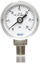 WIKA Industrial Pressure Gauge Liquid-Filled Copper Alloy Wetted Parts