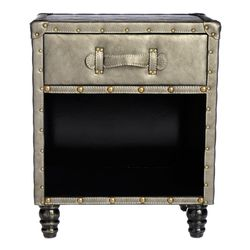Style at Homewith Margie Hand-Tufted Faux Leather Side Table - Charcoal