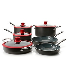 Todd English Hard Anodized Ceramic Nonstick 10 Pc Cookware Set - Red