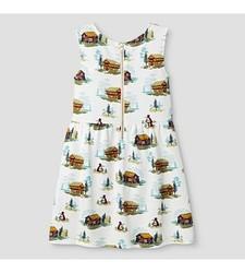 Oshkosh Girl's Sleeveless Cabin Print Dress - White - Size: Medium