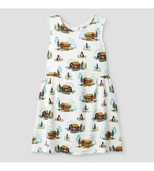 Oshkosh Girl's Sleeveless Cabin Print Dress - White - Size: 6