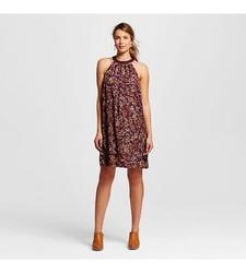 Merona Women's Floral Halter Shift Dress - Atlantic Burgundy - Size: M