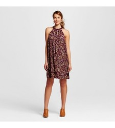 Merona Women's Floral Halter Shift Dress - Atlantic Burgundy - Size: Large