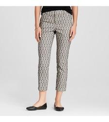 Merona Women's Ankle Pant Ebony Diamond Jacquard Curvy Fit - Black -Size:8