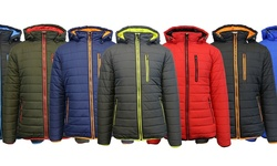 Harvic Spire By Galaxy Men's Puffer Jacket - Navy & Orange - Size: XL