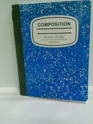 Marbled Wide-Ruled Composition Book - Blue