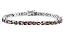 Golden Moon Mystic Topaz Tennis Bracelet In 18k White Gold Plated