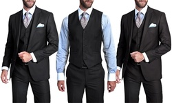 Verno Men's 3-piece Pinstripe Suit: Classic-black/40sx34w