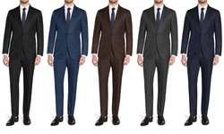 Brunello Men'sslim Fit 2-piece Suit: Blue/40lx34w