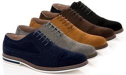 Franco Vanucci Dexter-1 Men's Casual Suede Oxford Shoes: Grey/10