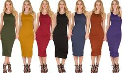 Lyss Loo Women's Bodycon Midi Dress D1201 Rose - Large
