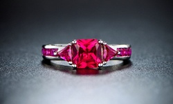 18k White Gold-plated And Ruby 4cttw Ring: Size 9