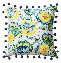 """Threshold Floral Print with Pom-Pom Pillow - Blue - 18""""x18"""""""