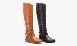 Tall wide calf buckle boot 3368-464 Blk 6
