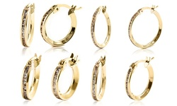 "10k Solid Gold Hoop Earring W/ Micropave Crystals By Swarovski:  .75""x.05"""